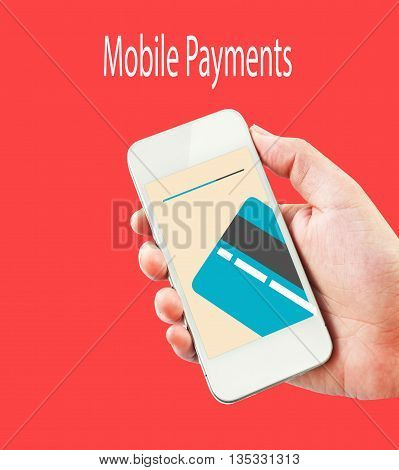 smartphone with processing of mobile payments from credit card on the screen. isolated on red background