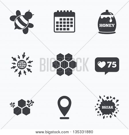 Calendar, like counter and go to web icons. Honey icon. Honeycomb cells with bees symbol. Sweet natural food signs. Location pointer.