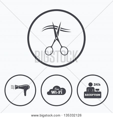 Hotel services icons. Wi-fi, Hairdryer in room signs. Wireless Network. Hairdresser or barbershop symbol. Reception registration table. Icons in circles.
