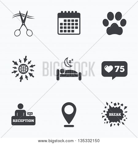 Calendar, like counter and go to web icons. Hotel services icons. With pets allowed in room signs. Hairdresser or barbershop symbol. Reception registration table. Quiet sleep. Location pointer.