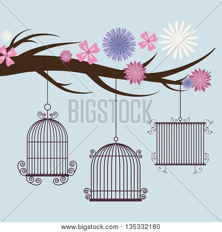 Decoration object concept represented by cute birdcages with flowers illustration, flat and colorfull design