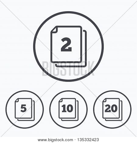 In pack sheets icons. Quantity per package symbols. 2, 5, 10 and 20 paper units in the pack signs. Icons in circles.