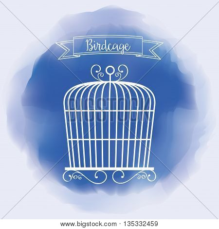 Decoration object concept represented by cute birdcages over splash background illustration, flat and colorfull design