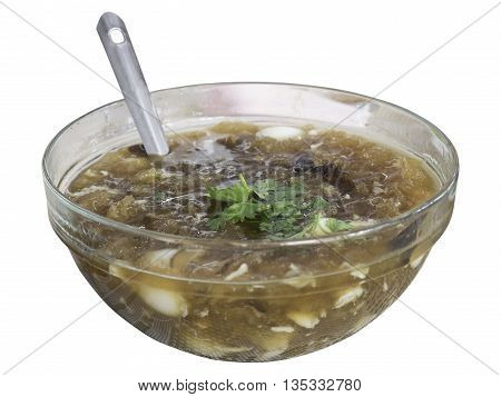 Fish maw in chicken broth white background isolate clipping path
