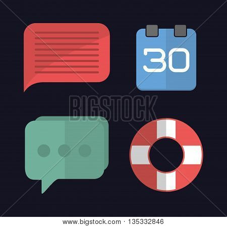 Media represented by Icon set of office and apps concept. Colorfull and flat illustration