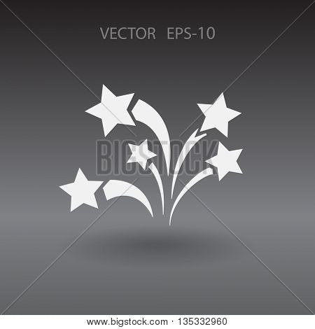 Flat a firework icon. Vector.