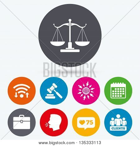 Wifi, like counter and calendar icons. Scales of Justice icon. Group of clients symbol. Auction hammer sign. Law judge gavel. Court of law. Human talk, go to web.