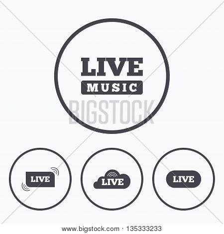 Live music icons. Karaoke or On air stream symbols. Cloud sign. Icons in circles.