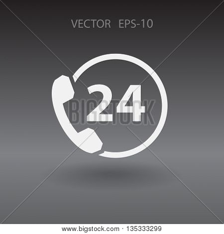 Flat 24h support icon, vector illustration