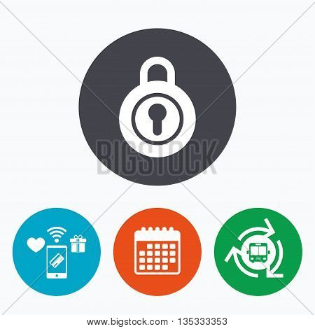 Lock sign icon. Locker symbol. Mobile payments, calendar and wifi icons. Bus shuttle.