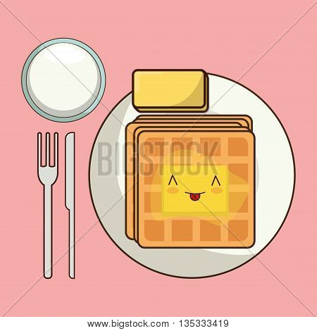 Breakfast represented by kawaii cartoon waffle design. Colorfull and flat illustration