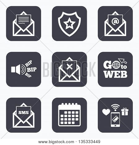 Mobile payments, wifi and calendar icons. Mail envelope icons. Message document symbols. Post office letter signs. Delete mail and SMS message. Go to web symbol.