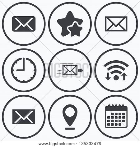 Clock, wifi and stars icons. Mail envelope icons. Message delivery symbol. Post office letter signs. Calendar symbol.