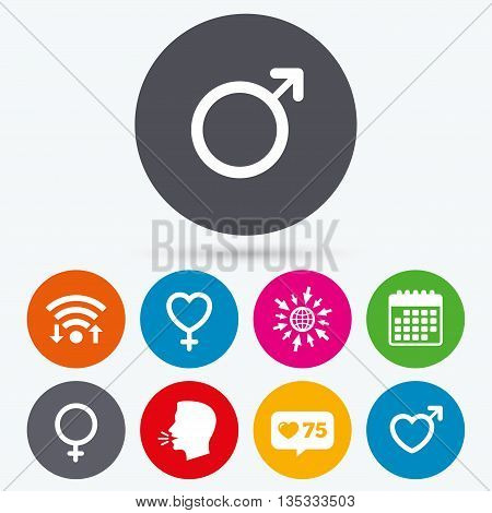 Wifi, like counter and calendar icons. Male and female sex icons. Man and Woman signs with hearts symbols. Human talk, go to web.