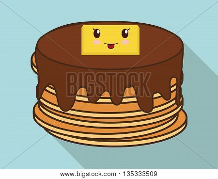 Breakfast represented by kawaii cartoon pancake design. Colorfull and flat illustration