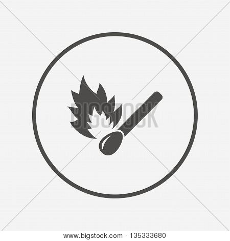 Match stick burns icon. Burning matchstick sign. Flat matchstick icon. Simple design matchstick symbol. Matchstick graphic element. Round button with flat matchstick icon. Vector