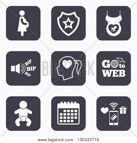 Mobile payments, wifi and calendar icons. Maternity icons. Baby infant, pregnancy and dummy signs. Child pacifier symbols. Head with heart. Go to web symbol.