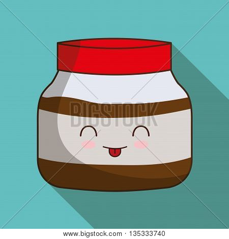Breakfast represented by kawaii cartoon jam design. Colorfull and flat illustration