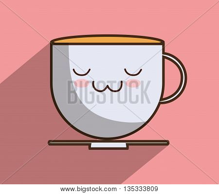 Breakfast represented by kawaii cartoon coffee mug design. Colorfull and flat illustration