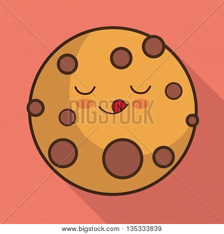 Breakfast represented by kawaii cartoon cookie design. Colorfull and flat illustration