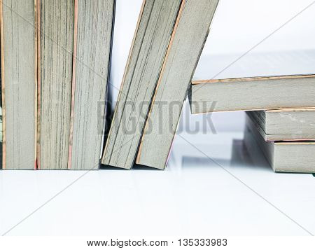 many book on the  white background .