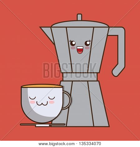 Breakfast represented by kawaii cartoon coffee mug and kettle design. Colorfull and flat illustration