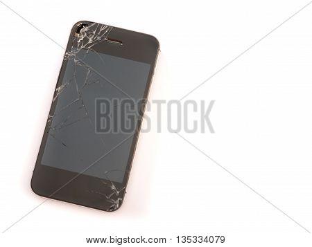 broken sreen mobile phone on white background