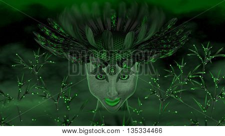 Goddess of the wood and plants, the green woman with a flower on the head.