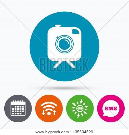 Wifi, Sms and calendar icons. Hipster photo camera sign icon. Retro camera on tripod symbol. Go to web globe.