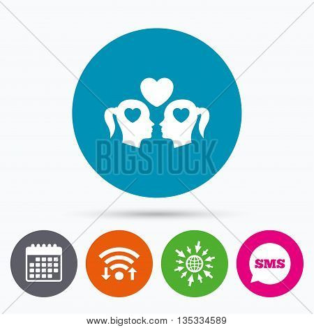 Wifi, Sms and calendar icons. Lesbian couple sign icon. Woman love woman. Romantic homosexual relationships with heart. Go to web globe.