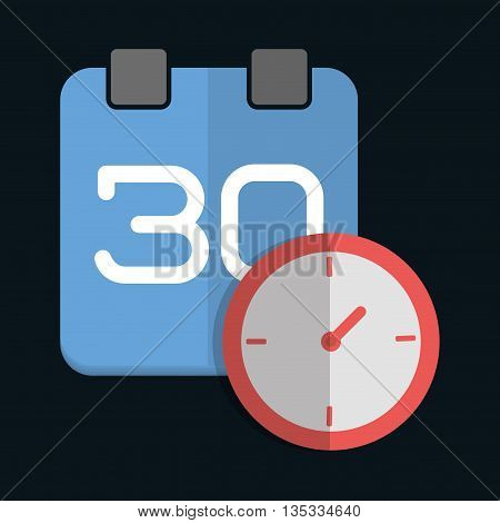 Calendar represented by clock with planner design. colorfulll and flat illustration