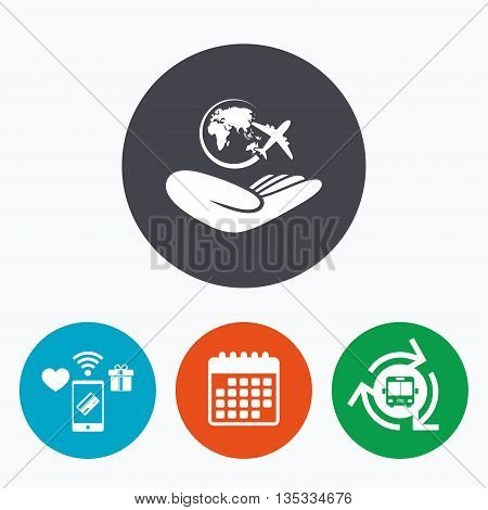 World trip insurance sign. Hand holds planet symbol. Travel insurance. World peace. Mobile payments, calendar and wifi icons. Bus shuttle.