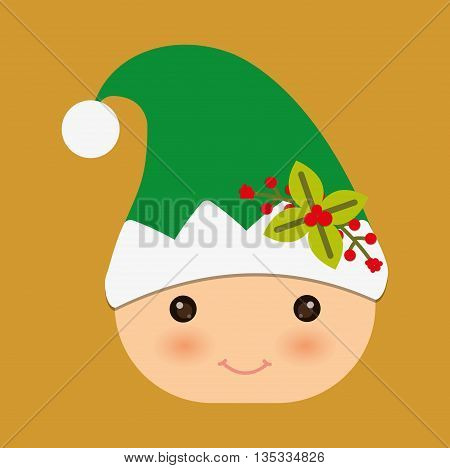 Merry Christmas represented by elf cartoon design. colorfulll and flat illustration