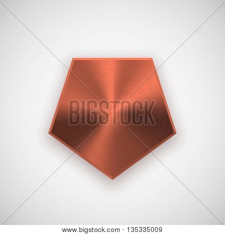 Bronze abstract polygon, hex badge, blank button template with metal texture, chrome, silver, steel, copper, rust and realistic shadow for logo, design concepts, prints, web. Vector illustration.