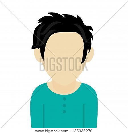 caucasian black hair male avatar without facial features wearing blue sweatshirt vector illustration