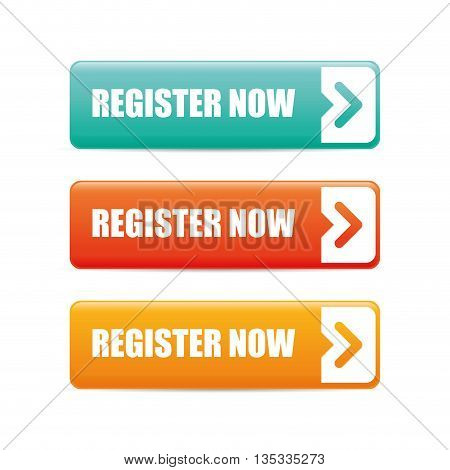 Register now design over white background, vector illustration.