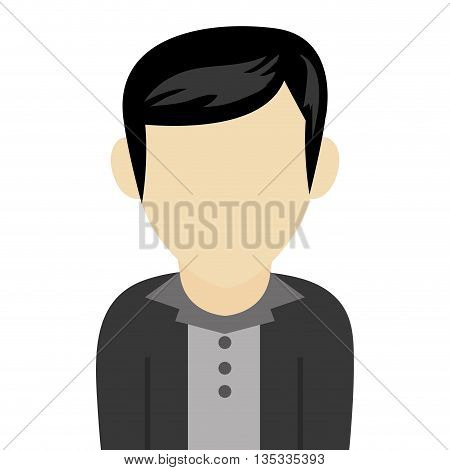 caucasian black hair male avatar without facial features with black jacket and grey shirt vector illustration