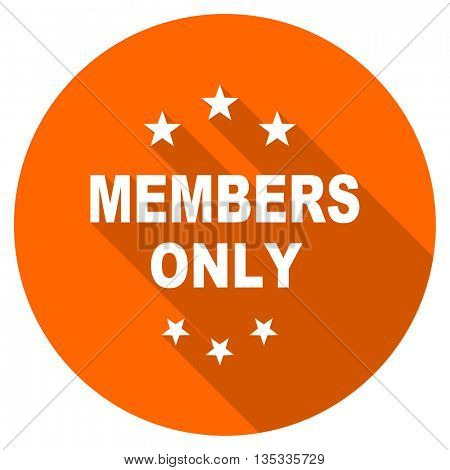 members only vector icon, orange circle flat design internet button, web and mobile app illustration