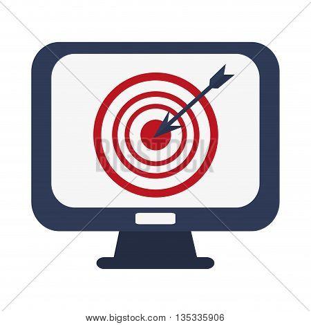 computer monitor with bullseye on screen vector illustration