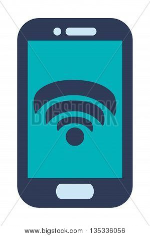 blue cellphone with front button with wifi icon on screen vector illustration