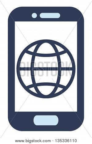 blue cellphone with front button with globe diagram vector illustration