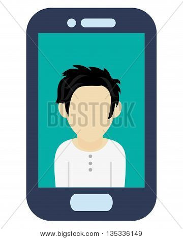 blue cellphone with front button with male avatar on screen vector illustration
