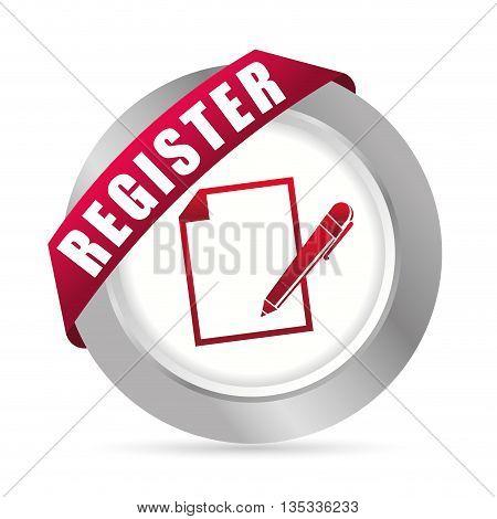 Register now design over white background, vector illustration.