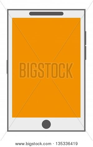 white cellphone with front button and yellow screen vector illustration
