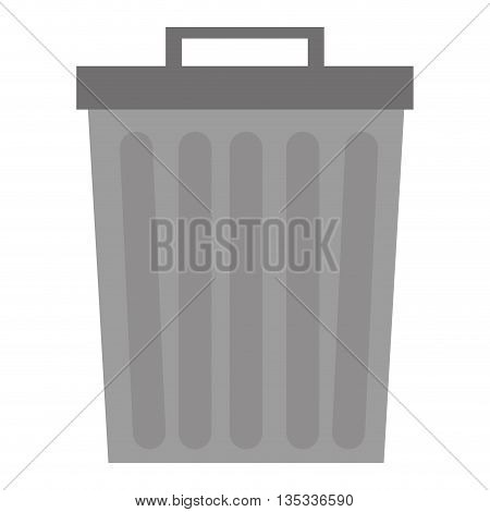 grey trash can icon vector illustration flat icon style
