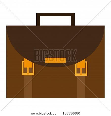 brown and yellow briefcase with handle on top vector illustration