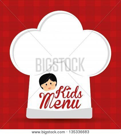 Kids menu design over red background, vector illustration.
