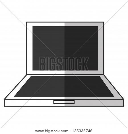 black and white laptop frontview vector illustration