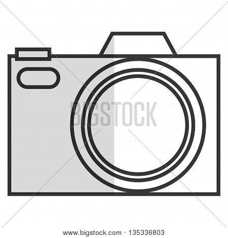 black line photographic camera vector illustration flat icon style