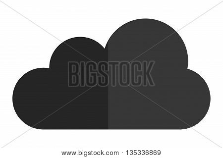 simple grey fluffy cloud vector illustration flat icon style